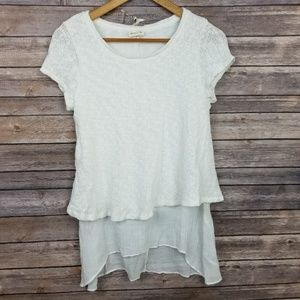 Meadow Rue Anthropologie White Layered Top Medium